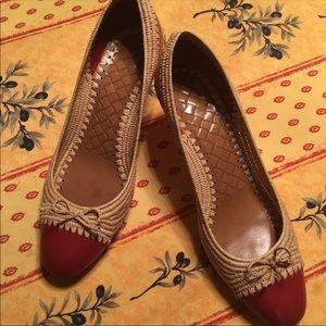Bottega Veneta Red Leather & Woven Heels size 9.5